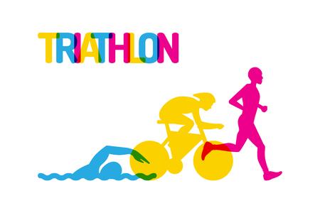 Banner op het thema sport, triathlon. Silhouetten van atleten, zwemmer, fietser, loper, getekend op een witte geïsoleerde achtergrond, gekleurd vlak logo