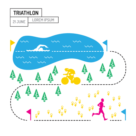 endurance: The infographic map of the route of the triathlon with a picture of the route lengths for each sport, a Poster on the topic of triathlon is drawn in flat style isolated on white background.