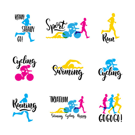 Sports logo with colored letters hand written on the topic of Cycling, swimming, running, triathlon
