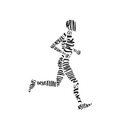 icono deportes: Lettering composition of the letters inscribed in the silhouette of the athlete. Vectores