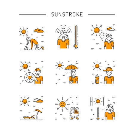 Vector icons on the theme of solar impact and protection measures during exposure to the sun in hot weather. Icons sunstrocke in outline style. Vettoriali