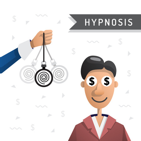 persuade: Vector illustration of a man under hypnosis is painted in flat cartoon style on white background isolated