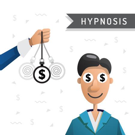 Les gens entrent dans un état d'hypnose de sorte qu'il a gagné plus d'argent. Hypnose pour de l'argent. Illustration vectorielle isolé sur fond blanc