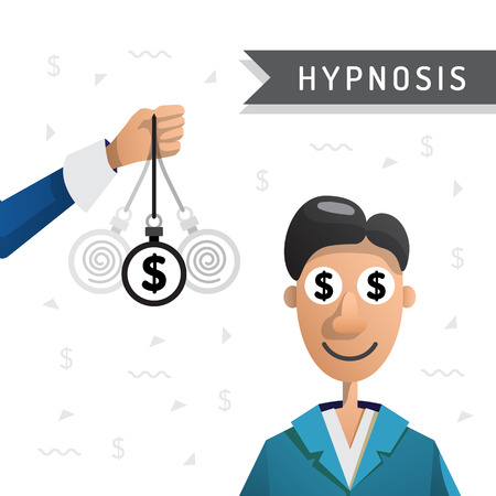 People enter into a state of hypnosis so that he earned more money. Hypnosis for money. Vector illustration isolated on white background Ilustrace