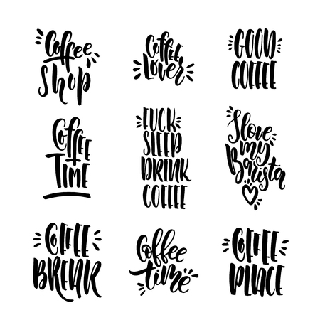 Set of lettering phrases about coffee vector isolated on white background. Words written by hand with a brush Illustration
