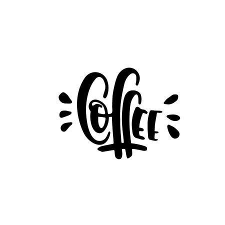 Lettering coffee is hand-written in vector isolated on white background