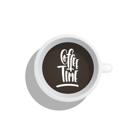 Lettering on the theme of coffee is hand-written. The phrase coffe time written on the coffee Cup top view Stock Photo
