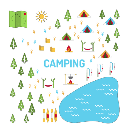 Vector image of map of camping. The set of elements to map the territory of the tent camp in the nature for recreation and tourism Illustration