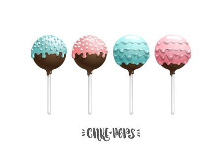 Set of vector colored cake pops on a stick, isolated on a white background, with lettering. Children favorite dessert cake pops Illustration