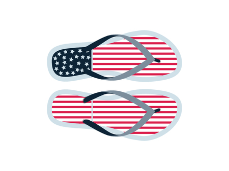 Flip flops written in a flat style with branding the American flag. Summer shoes flip flops products for tourists Illustration