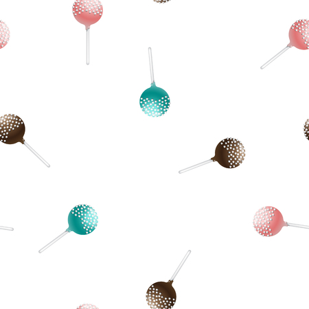confection: Seamless pattern of cake pops on a stick, isolated on a white background. Food background in vector. The patterns for the decoration of children holiday or birthday
