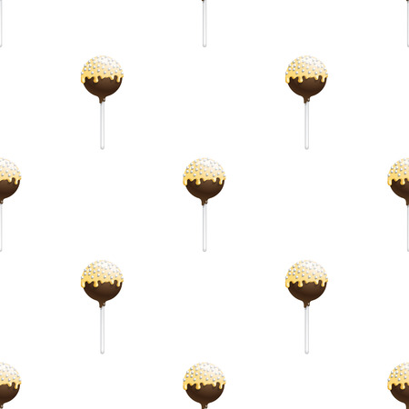 cupcakes isolated: Seamless pattern of cake pops on a stick, isolated on a white background. Food background in vector. The patterns for the decoration of children holiday or birthday