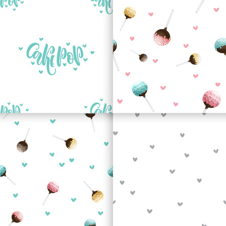 confection: Seamless pattern of cake pops on a stick, isolated on a white background. Food background in vector