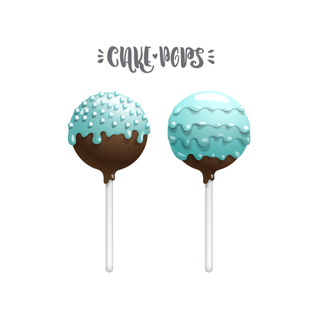 Set of vector colored cakepops on a stick, isolated on a white background, with lettering. Chocolate cake pops in blue glaze