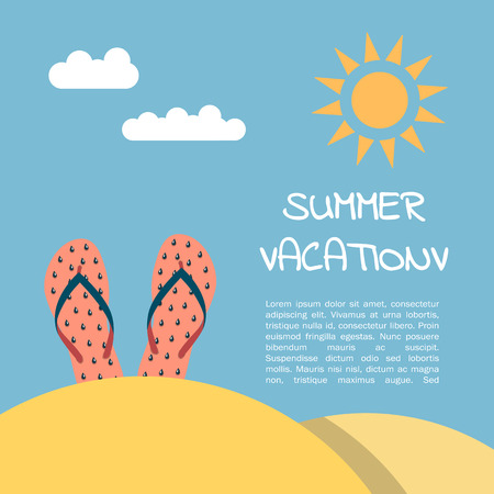 wave hello: Summer vacation on the beach, illustration in flat style.