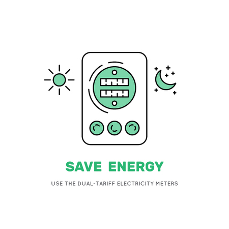 The spirit of tariff electric meter, vector icon. A banner with the advice to use two-tariff electric meter to save money on billing for consumption of electricity. Vector icon isolated background