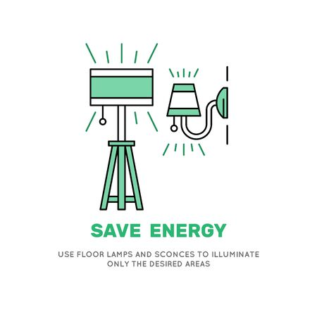 Sconces および光沢スタイルのランプ アイコン ベクトル。過剰な電力消費削減にやる気にさせるバナー