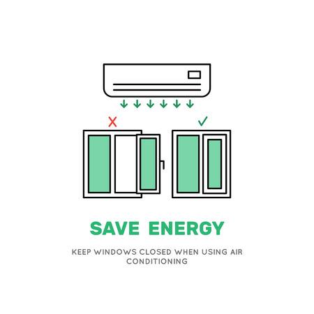 Airconditioning koeling van de lucht in de kamer werkt effectief met de Windows gesloten. Vectorbeeld van de airconditioner in een vlakke stijlraad op hoe sparen energie