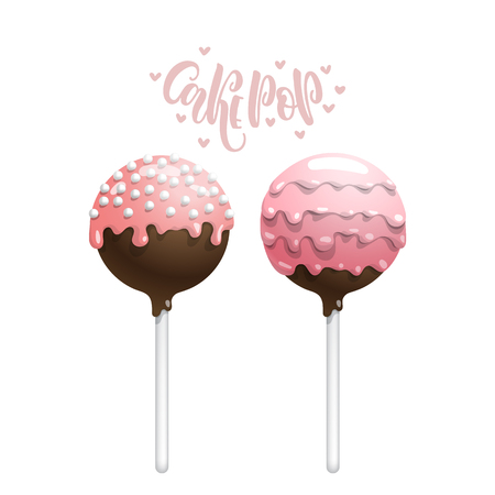 confection: Set of vector colored cake pops on a stick, isolated on a white background, with lettering.