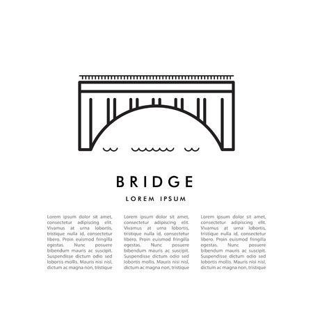 Affiche de vecteur avec l'image minimaliste linéaire du pont en arc et place pour le texte
