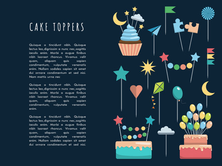 baked goods: Set of decorative toppers for decorating cakes and cupcakes, and other baked goods from dough. Vector illustration of decoration for children parties and birthdays cake toppers.