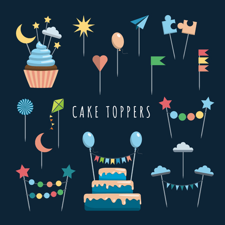 topper: Set of decorative toppers for decorating cakes and cupcakes, and other baked goods from dough. Vector illustration of decoration for children parties and birthdays cake toppers.