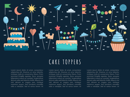 Vector template for web, app on the theme party the image of cakes, cupcakes, and decorations, toppers. Vector banner with place for text