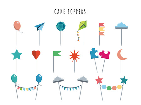 Set of decorative toppers for decorating cakes and cupcakes, and other baked goods from dough. Vector illustration of decoration for children parties and birthdays cake toppers.