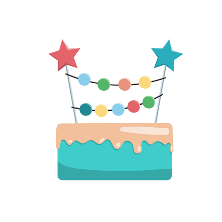 topper: Great birthday cake topper for a birthday. Vector image of a Happy Birthday cake isolated on white background