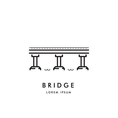 Logo vectoriel d'un simple pont à poutres, le symbole reliant les deux rives de la rivière. Icône du pont dessiné dans le style linéaire Logo