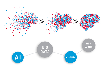 Big data Analytics information, the banner concept in the form of pieces of information emerging in the brain