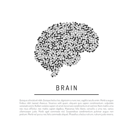 Silhouette of a brain isolated on a white background consisting of round particles. Banner vector brain with place for text