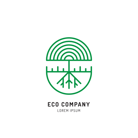 herbalist: Vector abstract green tree logo design templates outline - emblems for holistic medicine , yoga classes, natural and organic food products Ayurvedic clinic and packaging - tree logo Illustration