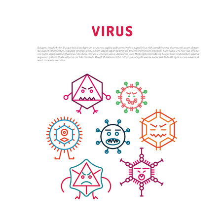 Cartoon virus character vector illustration on white background. Vector illustration of cells of microorganisms, viruses, DNA and RNA. Cells of different pathogens and viruses