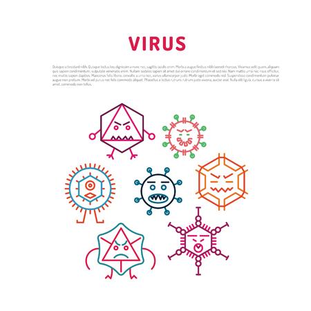 Cartoon virus karakter vectorillustratie op witte achtergrond. Vector illustratie van cellen van micro-organismen, virussen, DNA en RNA. Cellen met verschillende pathogenen en virussen Stock Illustratie