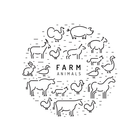 Vector farm animals silhouettes outline isolated on white, round banner.