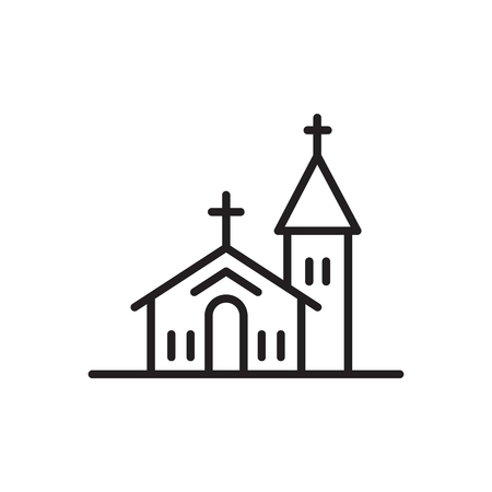 Vector church Icon outline isolated on white background.