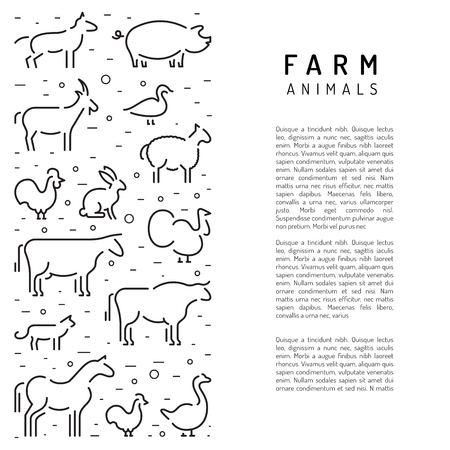 Banner with place for text informing about the usefulness of natural farm products. Vector farm animals in a linear style isolated on white background.