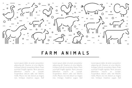 Animales de granja plana lineal sobre una bandera de fondo blanco con lugar para el texto. Folleto para publicidad de productos agrícolas Foto de archivo - 82436561