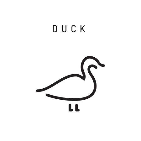 duck icon vector outline silhouette isolated on white background