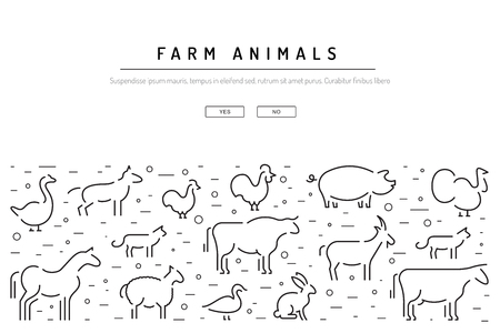 Vector farm animals silhouettes outline logo isolated on white. Set of animals icons for the design games and apps with animals