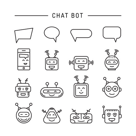 Set Chat bot icon faces robots in a linear style.