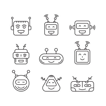 virtual assistant: Set Chat bot vector icon faces robots in a linear style. Vector Robot Virtual Assistance chatbots for text messages.
