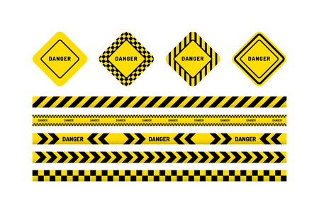 Yellow with black line and danger tapes sign.