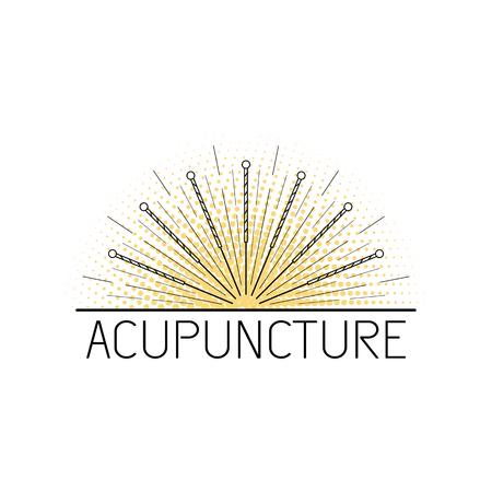 Wektor przeznaczony do tradycyjnej medycyny chińskiej, akupunktura. metoda stymulacji pewnych punktów na ciele igłami. Medycyna alternatywna