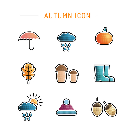 preserved: Set of icons on the theme of autumn flat color with a gradient, isolated on white background. Vector illustration of autumn elements.