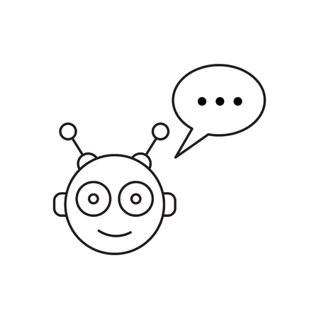 mobile app: Chatbot and speech bubble outline concept of app, media soft dialogue script, Robot outline icon style graphic logotype design isolated on white background