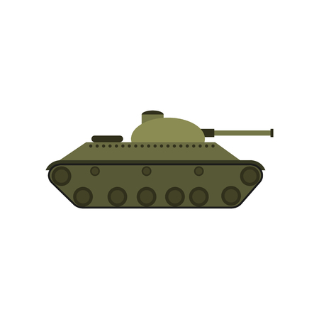 Vector the flat military tank with a gun Flat vector illustration isolated on white background Illustration
