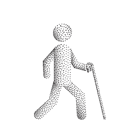 impaired: Blind man person stick figure walking with white cane, vector silhouette. Illustration dot point gradient.