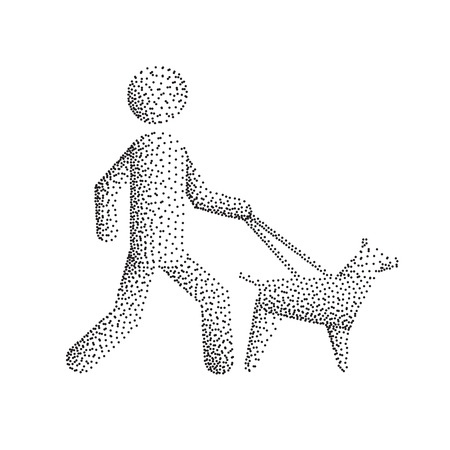 Blind man figure going for a walk with a seeing eye dog, vector illustration isolated on white background Illustration